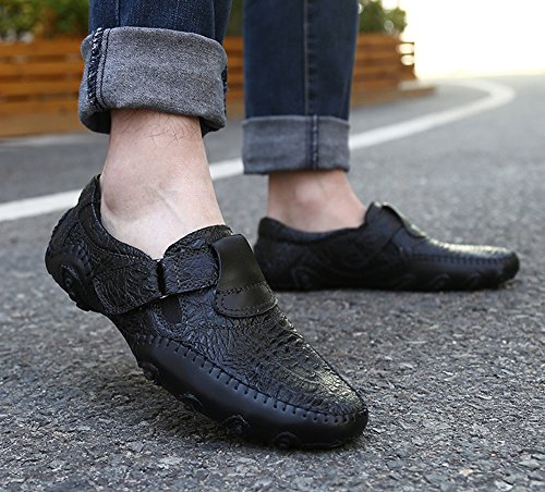 Casual Shoes Loafers Car Slip Soft Flats Driving Comfort Shinysky Men's Black On Leather Boat x1qv7aC