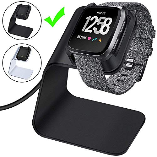 2 Wire Attached Cord - CAVN Charger Dock Compatible with Fitbit Versa/Versa Lite, Premium Aluminum Charging Cable Cord Station Cradle Base Attached 4.2ft USB Stand Cable Smartwatch Accessories, Black