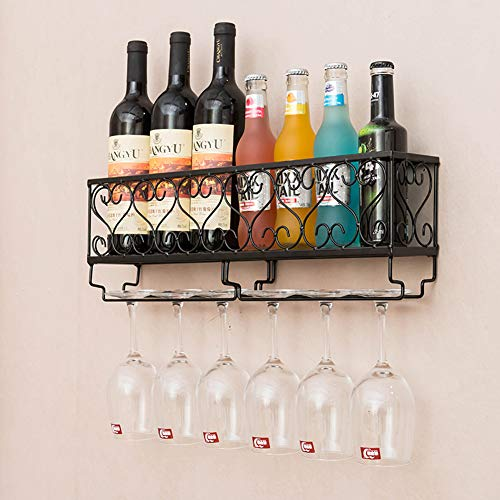 Hynawin Wall Mounted Wine Rack Organizer Hanging Bottle Glass Holder Storage Shelf for Red, White, Champagne -