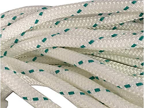 Yacht Braid Polyester Rope 7/16 inch, White Teal (100 ft. Hank) ()