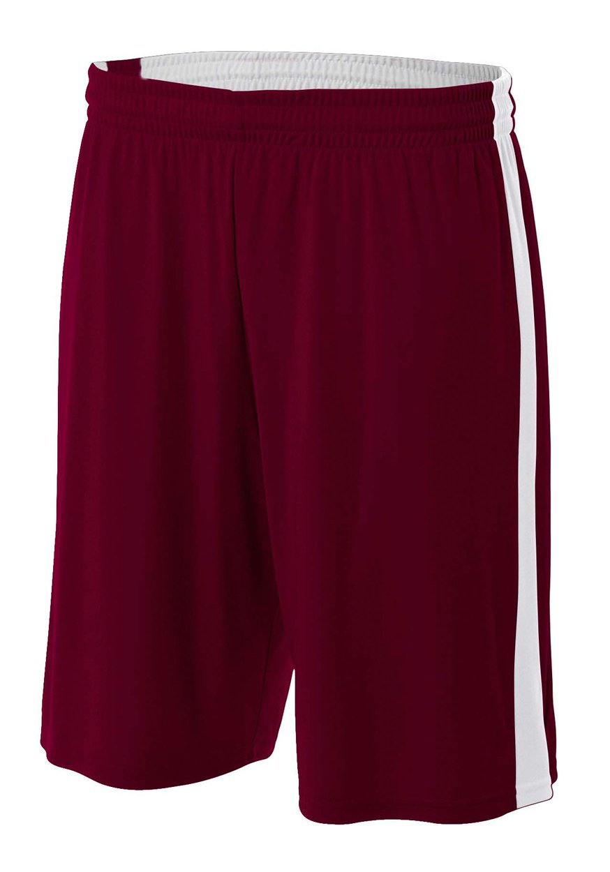 A4 NB5284-MRW Reversible Moisture Management Shorts, 8''/Large, Maroon/White by A4