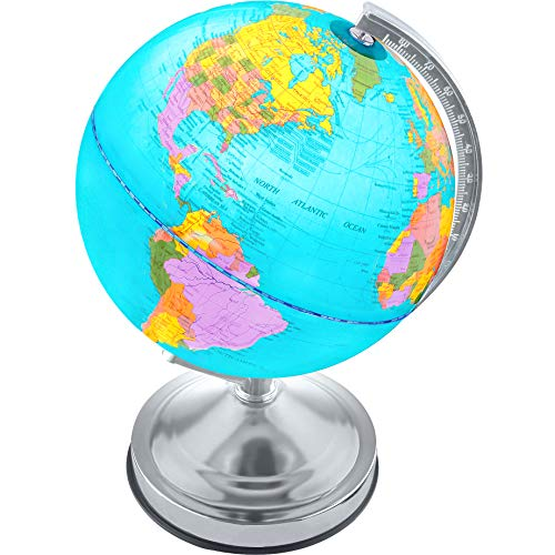Illuminated Desk Globe - Illuminated Kids Globe with Stand - Educational Learning Toy with Detailed World Map and LED Night Light (Power Cord Included)