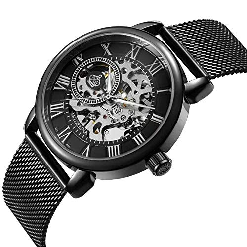 Mechanical Watch Hand-Wind Men's Skeleton Roman Numeral Royal Classic Stainless Steel