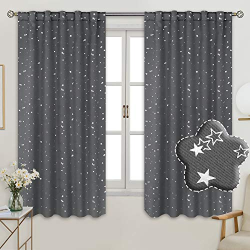 BGment Rod Pocket and Back Tab Blackout Curtains for Kids Bedroom - Sparkly Star Printed Thermal Insulated Room Darkening Curtain for Nursery, 42 x 63 Inch, 2 Panels, Grey (Best Curtains For Nursery)