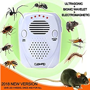 Ultrasonic Pest Repeller Control Kit 2018 Upgraded Electronic Mouse Repellent Plug in with Pressure Waves for Repelling Mice, Bugs, Mosquitoes, Spiders, Roaches, Ants