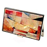 Mother of Pearl Red Pink Blue Colorful Patchwork RFID Blocking Protection Business Credit Name Card Holder Case Metal Stainless Steel Engraved Slim Purse Pocket Cash Money Wallet
