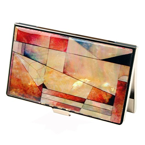 - Mother of Pearl Red Pink Blue Colorful Patchwork RFID Blocking Protection Business Credit Name Card Holder Case Metal Stainless Steel Engraved Slim Purse Pocket Cash Money Wallet