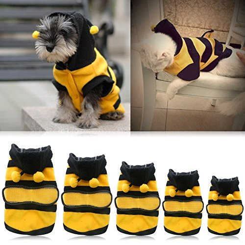 [Pet Hoodie Clothes Dog Cat Warm Coat Puppy Apparel Cute Fancy Bee Costume Outfit] (Cute Female Dog Costumes)