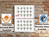 Baseball Stadiums Scratch Off Map   Team Colors of