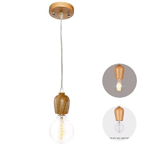 Coocnh - Portalámparas Edison, diseño retro vintage (fabricado en madera, para E27, colgante de techo, 100 cm DIY de cable)