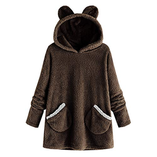TOTOD Cute Hoodie Sweatshirt Jumper Women Fleece Warm Bear Shape Fuzzy Sweater Loose Pullover Tops (E -Coffee, Medium) -