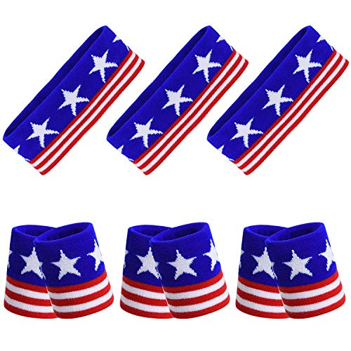 All American Wristbands - TOBWOLF Sports Headband & Wristband, Elastic Striped Sweatband Set, Stretchy & Absorbent, Cotton Terry Cloth American Flag USA Star Band for Running Cycling Tennis Football Basketball