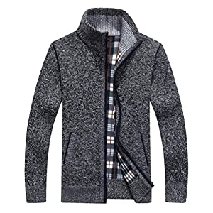 Msmsse Men's Casual Thick Knitted Cardigan Sweater Full Zip Utility Pocket