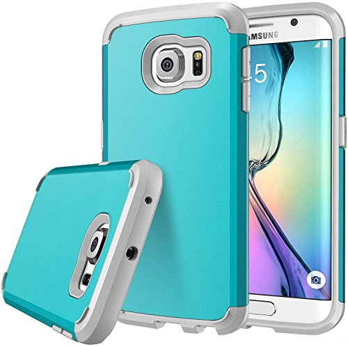 Galaxy S6 Edge case, S6 Edge case, E LV (SHOCK PROOF DEFENDER) Slim Case Cover - Ultimate protection for Samsung Galaxy S6 Edge - [TURQUOISE/GREY]