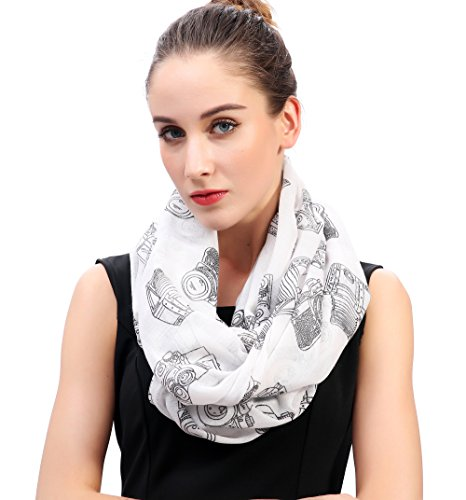 Lina & Lily Vintage Camera Print Loop Infinity Scarf for Women Lightweight (White)