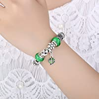 Presentski Silver Plate Charm Bracelet with Four Leaf Clover