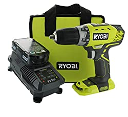 Ryobi P1811 One+ Compact Drill Driver Kit (5 Piece Bundle: 1x P208 Drill Driver Power Tool, 2x P102 18 Volt Battery, 1x P118 18 Volt Battery Charger, 1x Lime Green Ryobi Tool Bag)