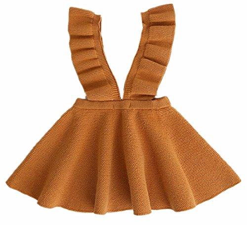Knit Girls Overalls (2Bunnies Girl Baby Girl Ruffle Strap Knit Sweater Overall Dress (Tan, 24 Months))