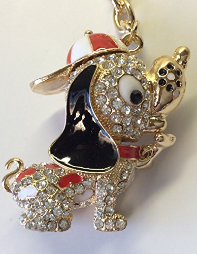 Bling Key Chain/ Purse Clip Crystal Embedded Red & White Hat Dog Embedded Crystal