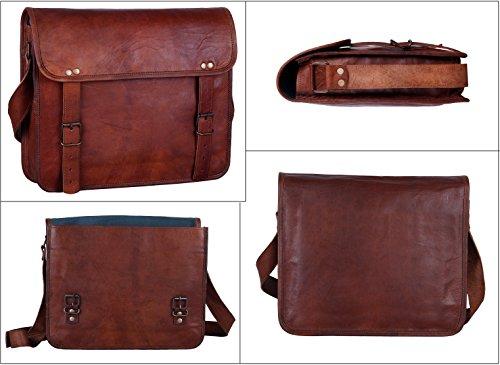 Rustic Town 15'' Genuine Leather Handmade Crossbody Messenger Satchel Laptop Bag by RusticTown (Image #4)