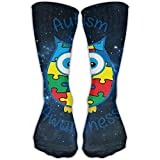 stocking personalized - Men Autism Awareness Owl Ankle Dress Long Sock Personalized Running Soccer Stockings