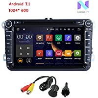 MCWAUTO Android 7.1 Double Din 8 Inch Car DVD Player for for VW Golf Polo Passat Tiguan Jetta Wifi Model with Built-in Canbus Support GPS, FM AM RDS, Bluetooth, SWC, USB SD Free Reversing camera