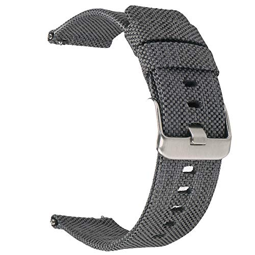 BEAFIRY Canvas Quick Release Watch Band 24mm Breathable Fabric Watch Strap for Men Sturdy Cotton Replacement Watchband for Women