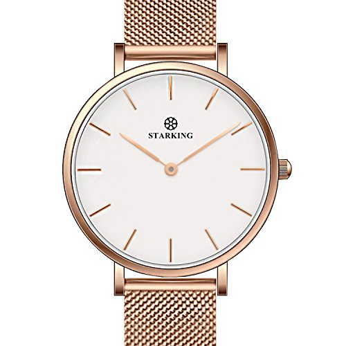 STARKING Women's Minimalist Ultra Thin Rose Gold Watch BL0997 Analog Japanese Quartz Stainless Steel Mesh Watch