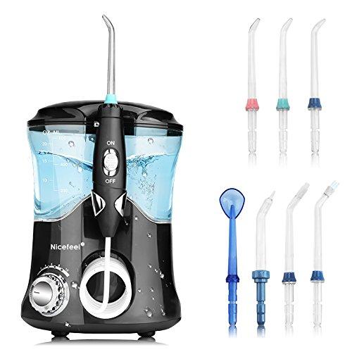 Upgrade Anti Leakage Water Flosser, Nicefeel 600ml Capacity Professional Quiet Design 10 Adjustable Presure Setting Water Dental Flosser for Home & Travel, Oral Irrigator with 7 Multifunctinal Tips ()