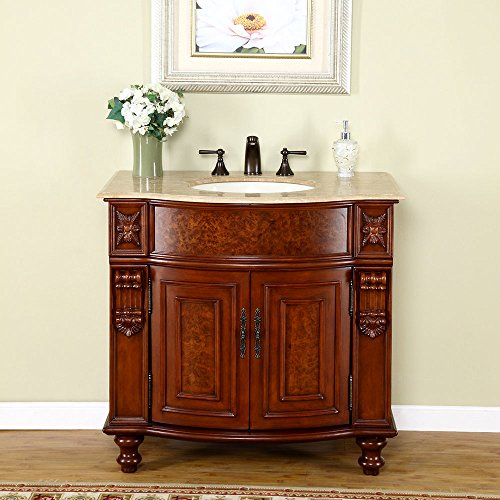Silkroad Exclusive JYP-0192-T-UIC-36 Travertine Stone Top Single Sink Bathroom Vanity with Cherry Finish Cabinet, 36