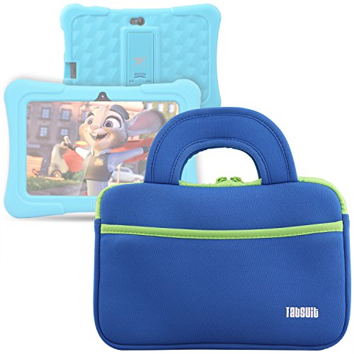 TabSuit 7 Tablet Bag Compatible for Dragon Touch Y88X Plus/Y88X/M7 Kids Tablet, Dragon Touch S7/S8 Tablet Ultra-Portable Neoprene Zipper Carrying Sleeve Case Bag with Accessory Pocket- Blue