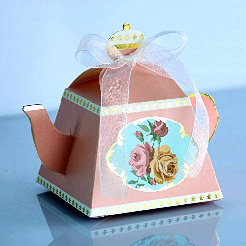 IGBBLOVE 50PCS Teapot Candy Box Candy Wedding Favor Boxes Baby shower favor Party Box -Pink , 50 PACK