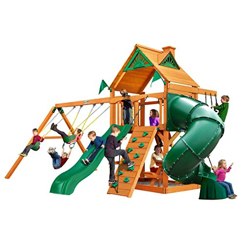 Swing Set w/ Wave Slide, Rock Climbing Wall, Two Swings, Ring/Trapeze Bar and Picnic Table, from...