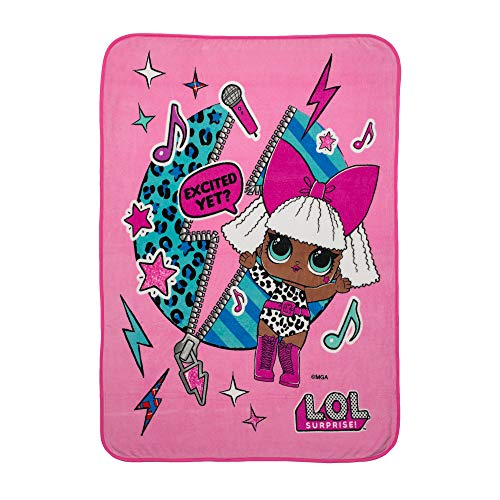 L.O.L. Surprise! Diva Character Kids Bedding Ultra Soft Plush Throw, 46