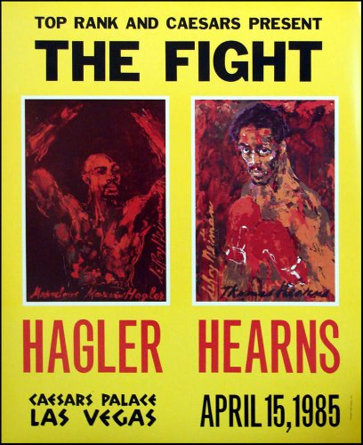 LeRoy Neiman New 1985 Vintage Poster The Fight Hagler Vs Hearns Boxing Match Caesars