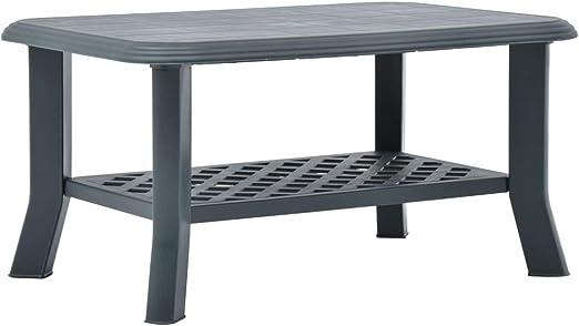 vidaXL Mesa de café resistente a la intemperie, mesa auxiliar, mesa de té, mesa de jardín, mesa de café, exterior verde, 90 x 60 x 46 cm, plástico: Amazon.es: Hogar