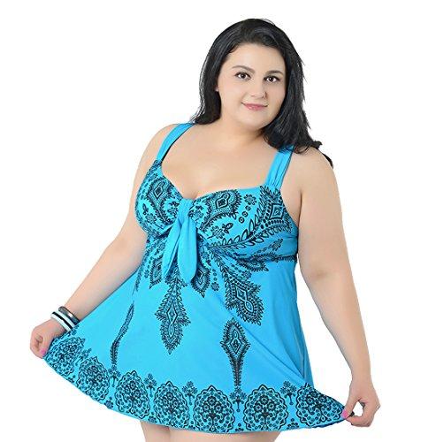 Niseng Mujer Trajes De Baño Ropa Tallas Grandes Una Pieza Falda Y Pantalones Cortos Conjuntos Azul Lago