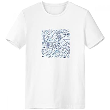 ... Hand Painted Math Ruler Calculator Scissors Illustration Crew-Neck White T-Shirt Spring and Summer Tagless Comfort Cotton Sports T-Shirts Gift: Clothing