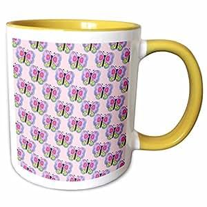 3dRose Anne Marie Baugh - Butterflies - Cute Purple and Green Butterflies With Heart Wings Pattern - 11oz Two-Tone Yellow Mug (mug_210997_8)