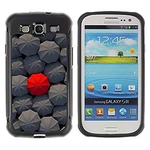 LASTONE PHONE CASE / Suave Silicona Caso Carcasa de Caucho Funda para Samsung Galaxy S3 I9300 / Deep Umbrella Red Pattern