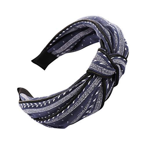 (Pengy Bow Knot Print Hairband for Women Hair Head Hoop Simple Sweet Girls Headband Vintage Elastic Printed Head Wrap Navy)