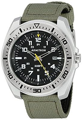 Armitron Sport Men's 20/5127BKSVOG Army Green Nylon Strap Watch