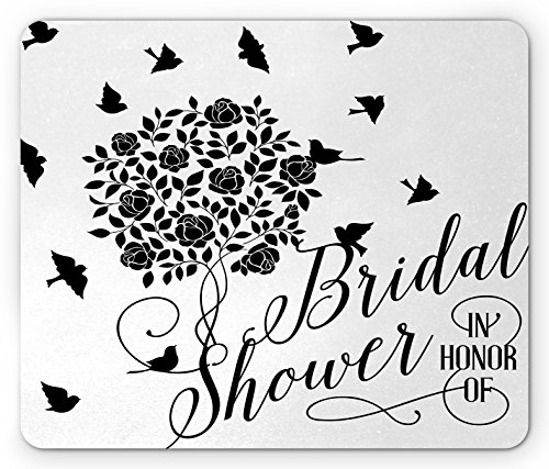 Price comparison product image Ambesonne Bridal Shower Mouse Pad by, Flowers Roses Leaves Swirls Birds Bride Party Theme Work of Art Print, Standard Size Rectangle Non-Slip Rubber Mousepad, Black and White