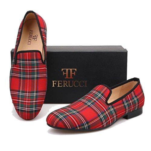 FERUCCI Loafers Red Scottish Handmade Slippers Men Flats aZrw7qaC
