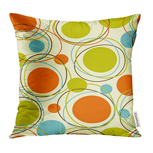 Emvency Throw Pillow Cover Colorful 1950S Retro Abstract Mid Century 1960S Modern Decorative Pillow Case Home Decor Square 20x20 Inches Pillowcase