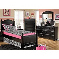 Jaidyn Twin Bedroom Set with Youth Poster Bed Dresser Mirror and Chest in Black