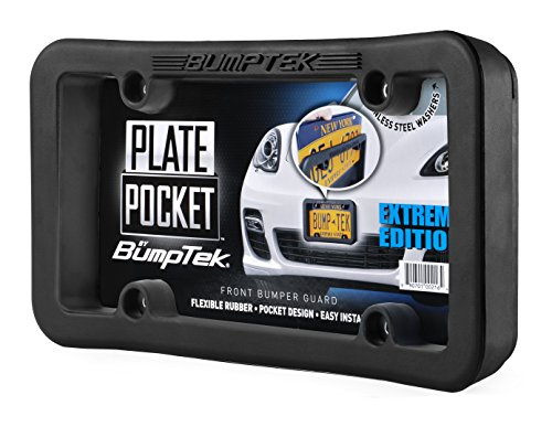 Plate Pocket by BumpTek (Extreme Edition) - The Thickest, Toughest, All Rubber Front Bumper Guard, Front Bumper Protection, License Plate Frame. Flexible Rubber Cushions Parking - Front Slide Pocket