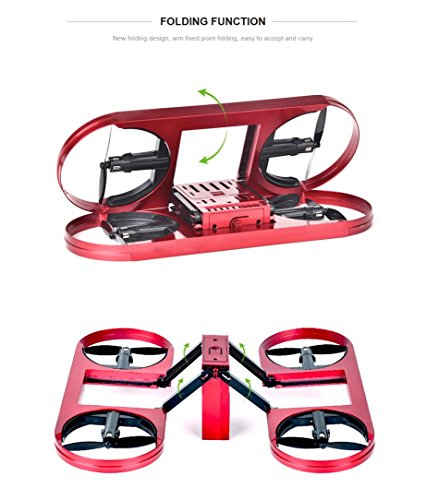 Inverlee TY6 WIFI FPV Foldable Drone 720P HD Camera Altitude Hold Mode Quadcopter,Great Xmas Gift (Red) by Inverlee