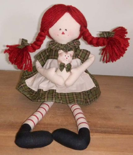 Delton Primitive Country Raggedy Ann Rag Doll with Cat, Green, 17""