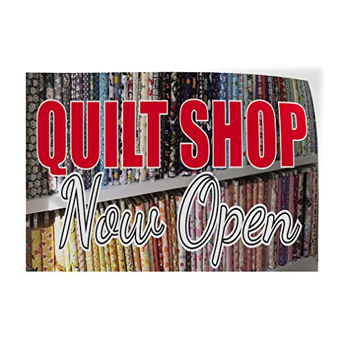 Decal Sticker Multiple Sizes Quilt Shop Now Open Business Quilt Shop Outdoor Store Sign White - 10inx7in, Set of 10